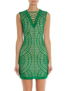 Balmain green knit mini dress