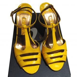 Gina Yellow Snake Skin Print Heels