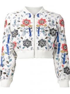 Alicia+Olivia Silk Embellished Cropped Bomber Jacket