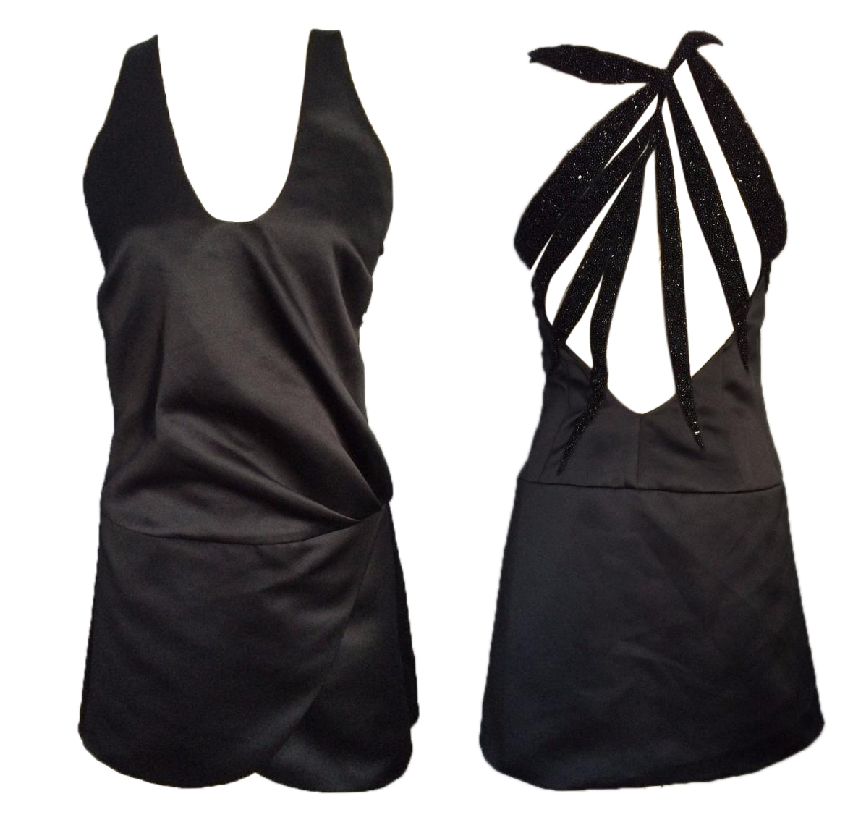 EMPORIO ARMANI Runaway Black Embellished Mini Dress