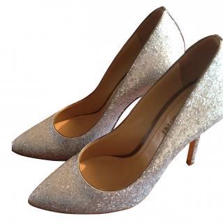 Pollini silver glitter pumps