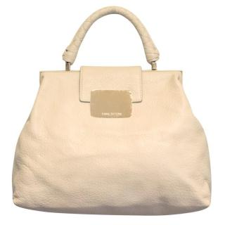 Halston Cream Leather Tote With Gold Hardware