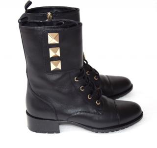 Valentino Rockstud Black Leather Army Ankle Boots