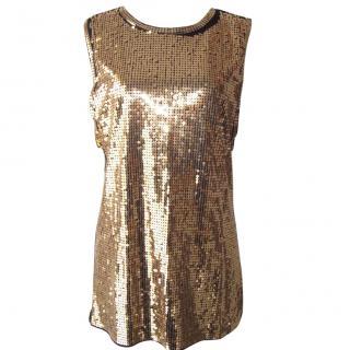 Balmain Women's Gold Sequin Vest