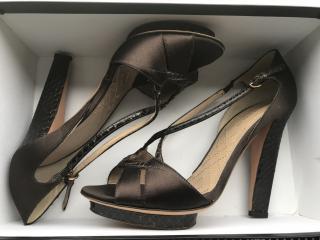 Alberta Ferretti Satin & Leather Heels