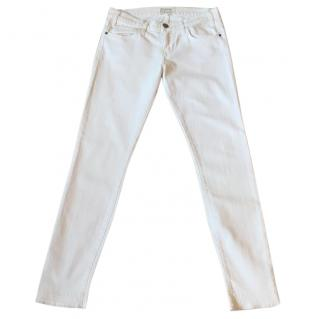 Current Elliott 'The Roller' white skinny stretchy jeans