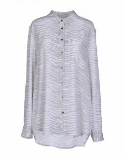 Equipment grey patterned silk shirt