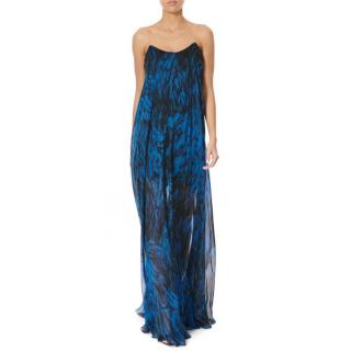 Amanda Wakeley Blue Feather Print Silk Chiffon Gown