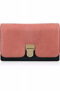 Victoria Beckham Salmon Pink And Black Lizard Leather Clutch Bag