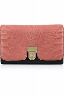 Victoria Beckham Salmon Pink And Black Lizard Leather Clutch Bag