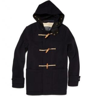 Burberry Pure Wool Duffle Coat , hood, check lining, wooden buttons