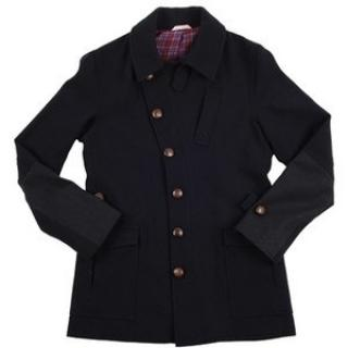Oliver Spencer Navy Wool Coat, full lining, made in England BNWT,