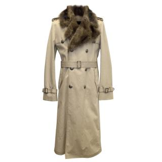 Fendi Men's detachable fur lined trench coat