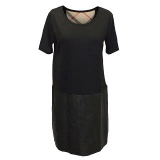 Burberry T-shirt Dress with Leather Skirt