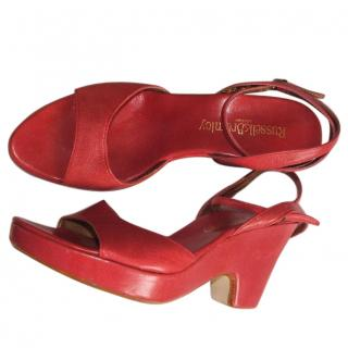 Russell & Bromley red leather platform sandals, size 38