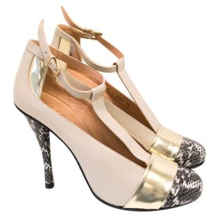 Roger Clergerie Court Shoe with Python Toe and Heel