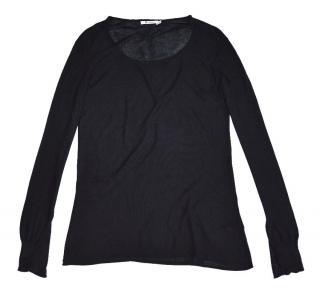 T By Alexander Wang Black Wool Silk Jumper Twist Sleeve
