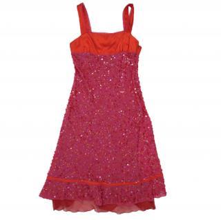 Patty Shelabarger fuchsia red silk dress