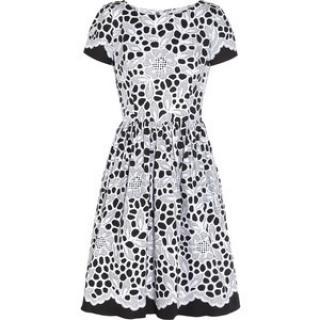 Oscar de la Renta black and white A-line dress