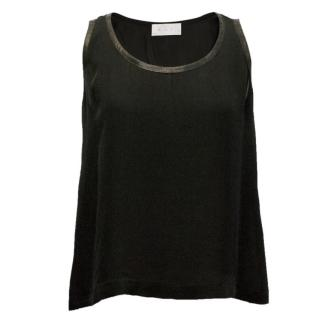 A.L.C Silk Shell Top with Leather Trim