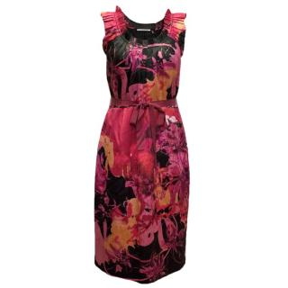 T by Tahari Print Dress with Ruffle Neck