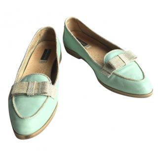 Fratelli Rossetti light green leather mocassins