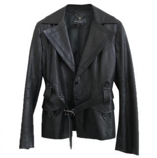 Salvatore Ferragamo dark green leather jacket with belt