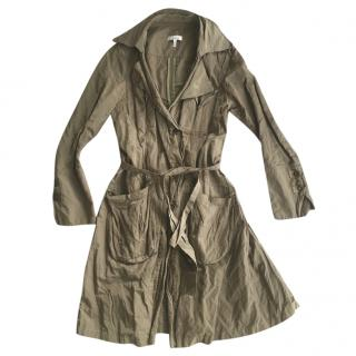 Pinko Olive Gold Trench Duster Coat