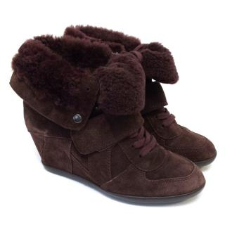 Ash Suede Sheepskin Wedges