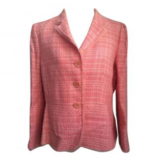 Gerard Darel Pink and White Linen and Cotton Blend Tweed Jacket