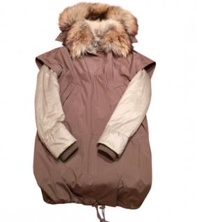 Gucci Two piece parka with a fur collar