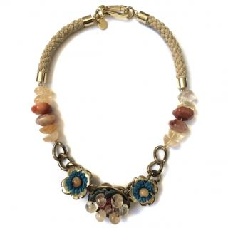 BIMBA Y LOLA Gold Necklace with Stones and Raffia