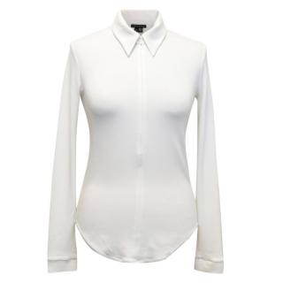 Theory Zip Front Top with Pointed Collar