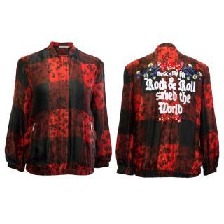 Preen Line Tartan Print Emroidered Bomber Jacket