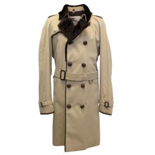 Burberry 'Kensington' trench coat with fur -lined collar