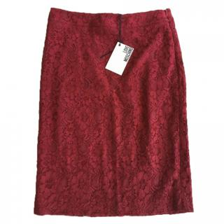 Moschino burgundy red lace detail skirt