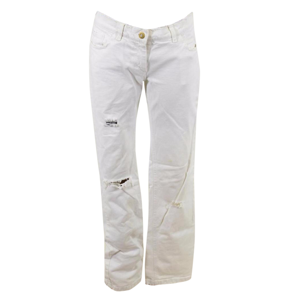 Mold Burgundy evidence  Dolce And Gabbana White Denim Destroyed Jeans | HEWI