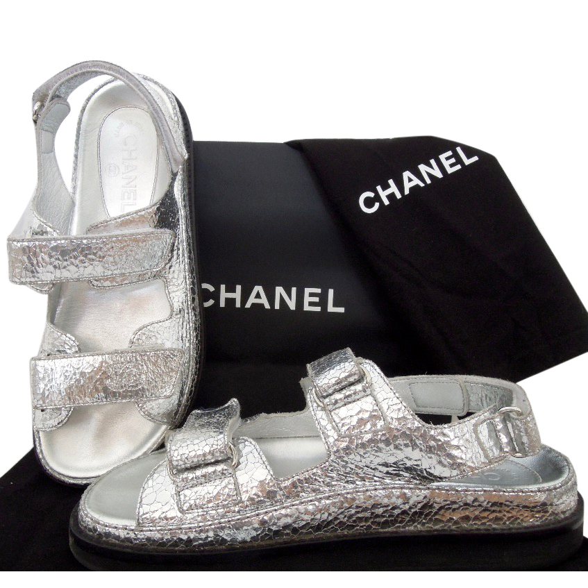 Chanel Silver Flat Sandals | HEWI