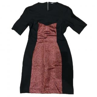 Markus Lupfer Black Shimmer Panelled Dress