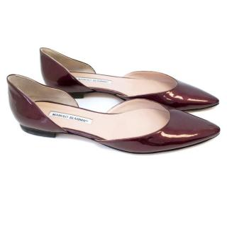 Manolo Blahnik Patent Pointed Toe Cut Out Flats