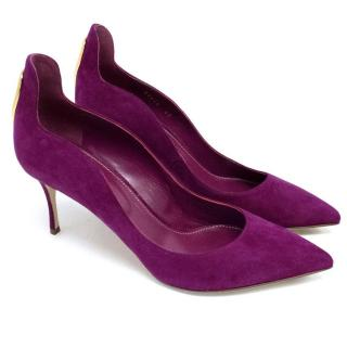 Sergio Rossi Pointed Toe Court Shoe with Gold Hardware