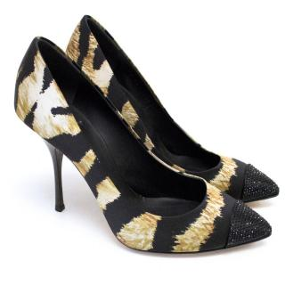 Giuseppe Zanotti Tiger Print heels with Crystal Toe