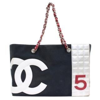 Chanel Canvas bag with Metallic Lining and Silver Hardware