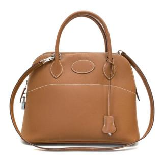 Hermes Bolidie 31 Tan Bag with Silver Hardware