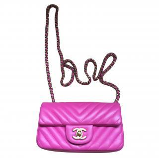 Chanel Hot Pink Mini Chevron Flapbag