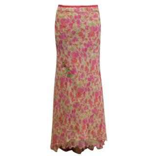 Blumarine Pink and Green Printed Silk Maxi Skirt