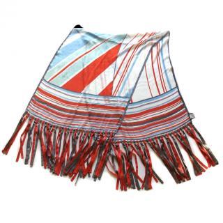 Giorgio Armani Black Label silk scarf stripes and fringes