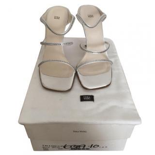 Vera Wang White Satin Tribeca Embellished Sandals - BRAND NEW