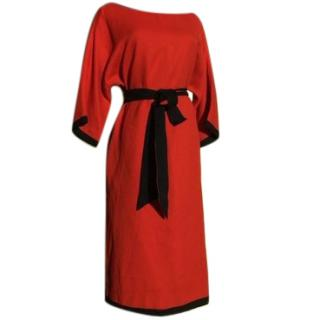 Marc by marc jacobs red and navy silk dress size large