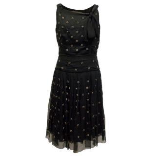 Prada Black Silk Dress with Beige and Gold Beading